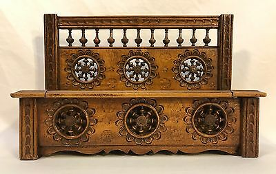 Antique French Hand Carved Wood Jewelry Trinket Box Quimper Breton Brittany