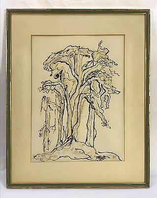 Vintage Mid Century Modern Abstract Tree Pen & Ink Drawing Painting Signed
