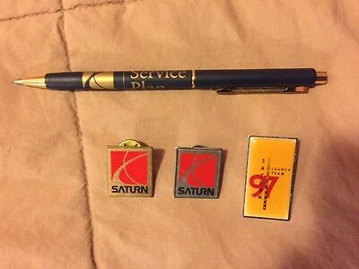 Saturn Car Advertising Emblem Completely Satisfied Lapel Hat Pins and pencil pen