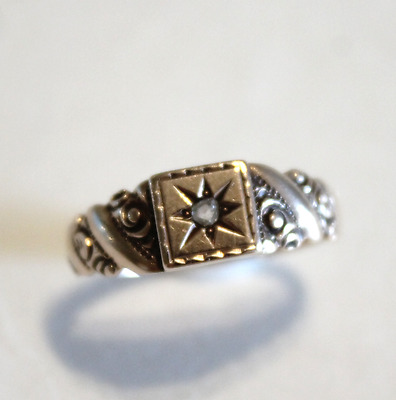 Antique Victorian 14k Yellow Gold Rose Diamond Engraved Band Ring Size 7