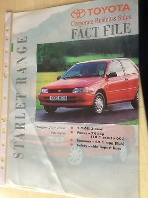 TOYOTA  STARLET   FACT FILE BROCHURE  1993  #ToySt02