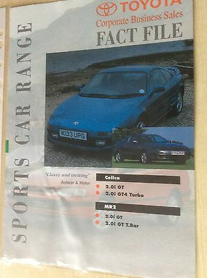 TOYOTA SPORTS CAR RANGE   FACT FILE SALES BROCHURE 1993  #Toy08