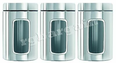 3Pc Mirror Finish Stainless Steel Glass Front Tea Coffee Sugar Jar Canisters Set