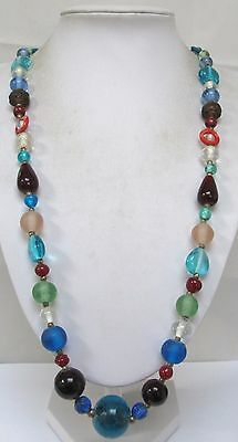 Stunning long vintage multi coloured glass bead necklace