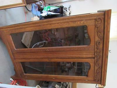 Great Antiique 1800s Armoire Lighted Bookcase display cabinet Mission Oak (16L1)