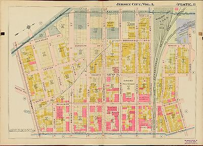 1908 Jersey City,Hudson County New Jersey Grand St - Third St  Ps 9  Atlas Map