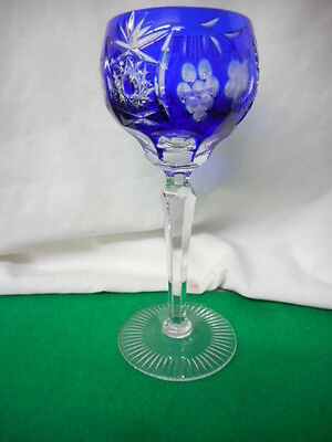 Vintage Bohemian Cobalt Cut to Clear Grape Wine Stem