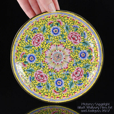 Small Chinese Canton Enamel Floral Dish / Plate, Qing Dynasty, 19th Century