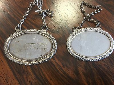 Quality Antique Silver Plate Sherry And A Blank Decanter Labels. Open To Offers.