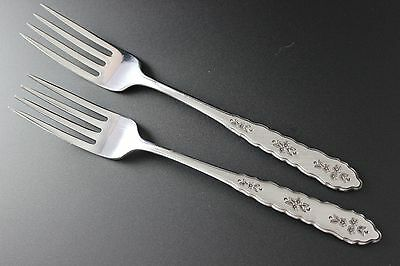 Oneida Deluxe Distinction Stainless - FLORAL BOUQUET - Dinner Forks (2)