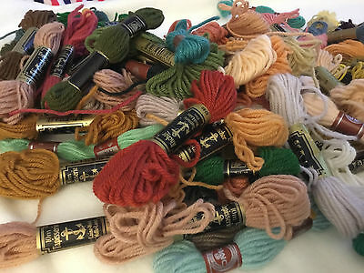 50+ Mixed Lot Anchor/dmc Tapestry Wools, 50+ Skeins, Varied Colours