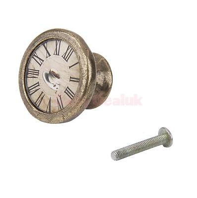 Vintage Brass Wardrobe Cabinet Door Cupboard Drawer Pull Handle Knob Clock