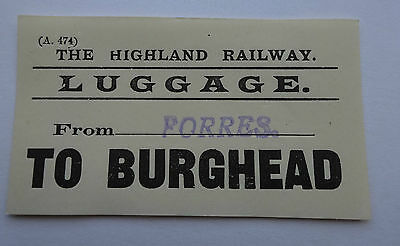 Highland Railway Luggage Label From Forres (Stamped) To Burghead