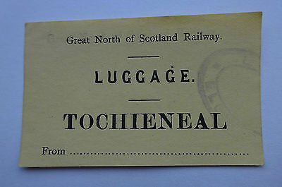 Great North Of Scotland Railway Label To Tochieneal From Elgin, Stamped On