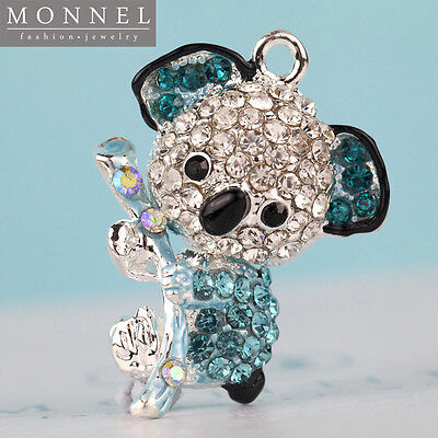 H516 Cute Crystal Blue Style Koala Bear Pendant Charm Wholesale (3pcs)