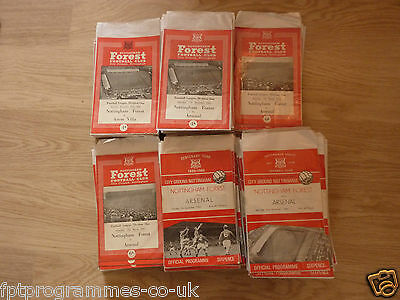 Nottm Forest  Home Programmes 1960/61 to 1966/67 .  Select from list