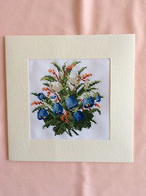 Completed EX Large Cross Stitch Card 7.5 X 7.5 Inches .