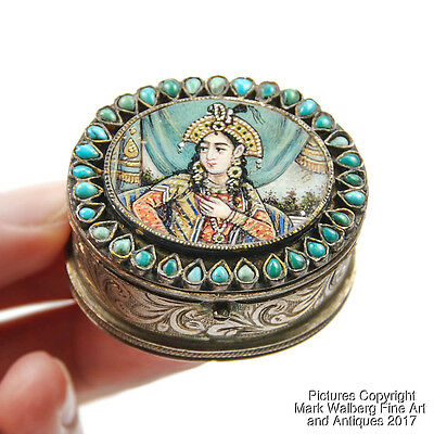 India Indian Mughal Silver and Turquoise Box with Miniature Portrait, 19/20th C.