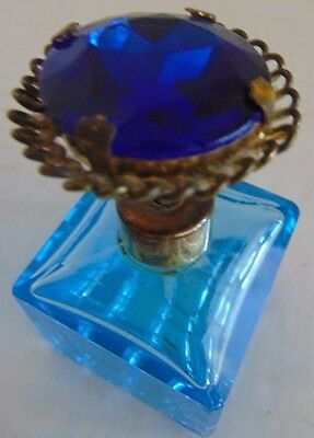 Antique I. W. Rice & Company Blue Perfume Bottle