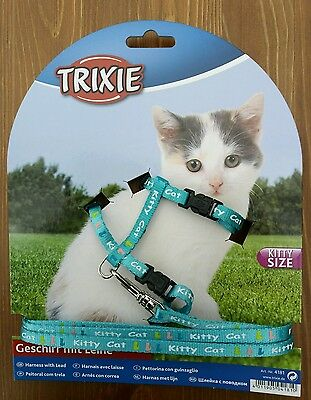 New Trixie Kitten Kitty Size Collar Harness Blue Small Cat Collar Pet Lead
