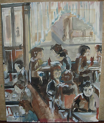 Original Watercolour Painting of Cafe Scene Abstract Style - Art