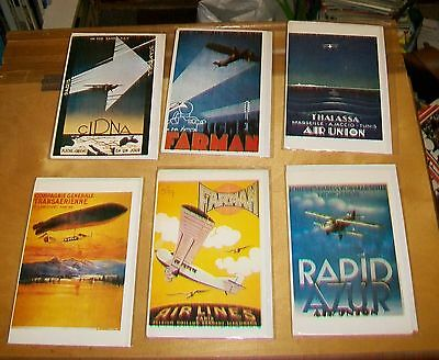 AIR FRANCE POSTERS CARDS. Editions ARNO. Blank cards. New condition (6) 1909-32