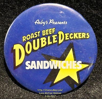 LMH PINBACK Button Pin  ARBY's Promo DOUBLE DECKERS SANDWICHES Roast Beef Slogan