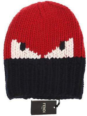 f52f4178 New Fendi Roma Current Navy Blue Red White Monster Eyes Funky Wool Hat  Unisex