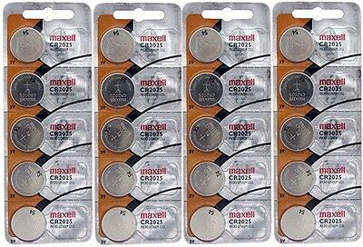 20pc GENUINE MAXELL CR2025 2025 LITHIUM BUTTON COIN CELLS BATTERIES Battery 3V