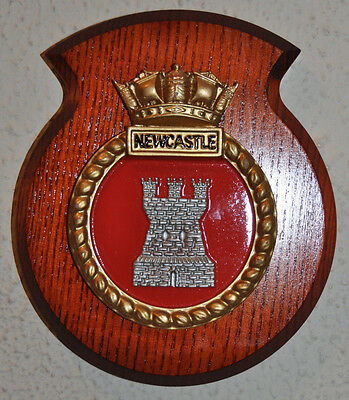 Small HMS Newcastle ward room shield plaque crest Royal Navy RN