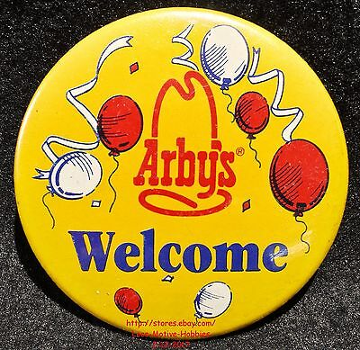 """LMH PINBACK Button Pin  ARBY's Promo  WELCOME  Party Balloons Slogan 1985 3"""""""