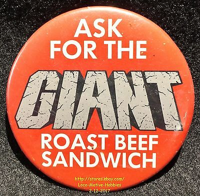 LMH PINBACK Button Pin ARBY's Promo ASK FOR GIANT ROAST BEEF Sandwich Slogan '87
