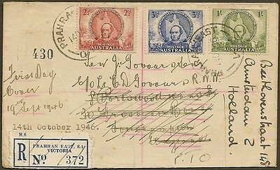 Australia 1946 registered cover to UK redirected with GB KGVI 6d to Holland