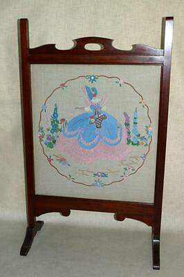 VINTAGE MAHOGANY FIRE SCREEN with Embroidery. Glass both sides.