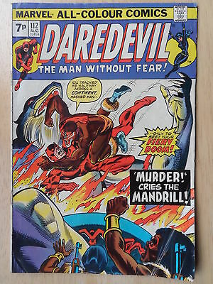 "DAREDEVIL #112  _ ""Murder Cries The Mandrill"" _ FINE+ CONDITION _ 1974"
