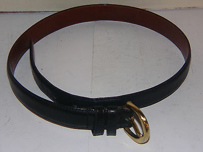 """Vintage Authentic Coach Black Leather Brass Hardware Belt Small 30"""""""