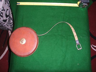 Vintage Rabone Chesterman 20 Mtr Tape Measure  Brass + Leather Made In England