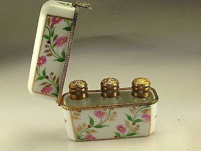 SUPERB LIMOGES France Peint Main LARGE Trinket Box 3 Crystal Perfume Bottles