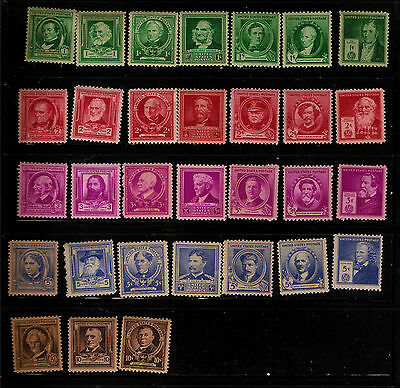 Us Stamp Lot Famous Americans 1940 Series Mint Nh Og F-Vf Centering