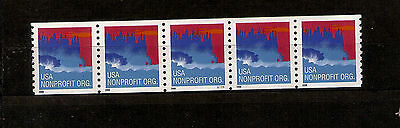 USA COIL STAMPS PNC5 3864 NON PROFIT ORG. STRIP OF 5 PL# S1111 MNH WATER ACT 5c