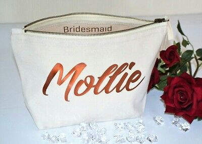 Bridesmaid gift Personalised Cream Make Up Accessory Cosmetic Bag