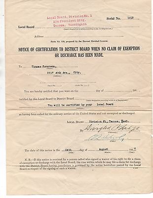 1917 WWI Military Certification Certificate from Tacoma WA