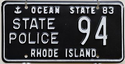 1983 Rhode Island State Police License Plate