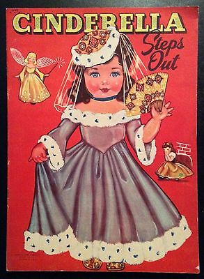 Original CINDERELLA STEPS OUT Paper Dolls Book, 1948, Uncut, 6 Pgs. of Clothes