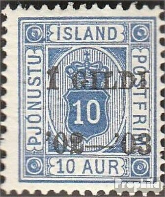 Iceland D13B B fine used / cancelled 1902 print edition service marks