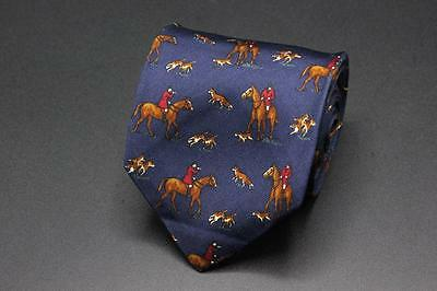 Boys POLO RALPH LAUREN Silk Tie. Blue w Hunting Scene. Hand Finished in USA.