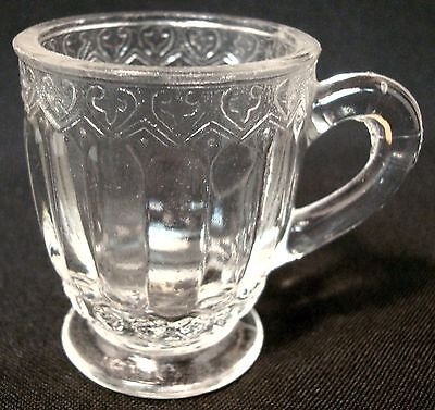 """Child's Hearts Pattern Miniature Toy Glass Mug Or Cup, 2"""" Tall Antique Eapg"""