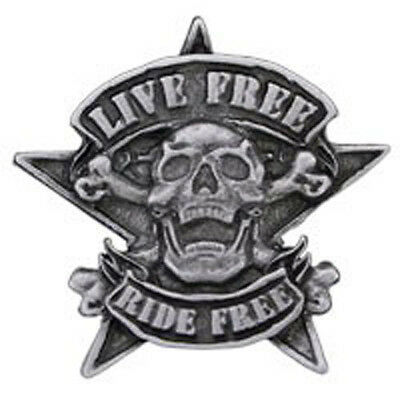 NEW Live Free Ride Free Skull & Star Pewter Pin Badge from Fat Skeleton