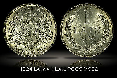 1924 Latvia 1 Lats PCGS MS62 Bright White and Very Lustrous Coin Secure Plus