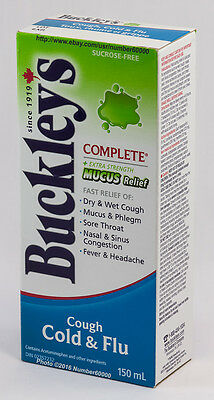 BUCKLEY'S COUGH COLD & FLU SYRUP 150mL MUCUS RELIEF CANADIAN